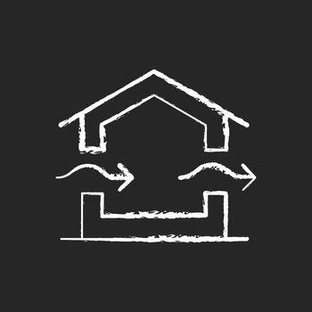 Ventilation system chalk white icon on dark background