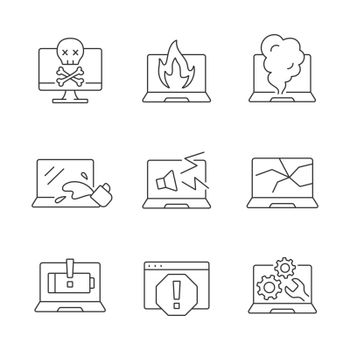 Computer damage linear icons set