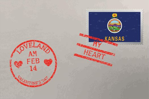 Postage stamp envelope with Kansas flag and Valentine s Day stamps, vector