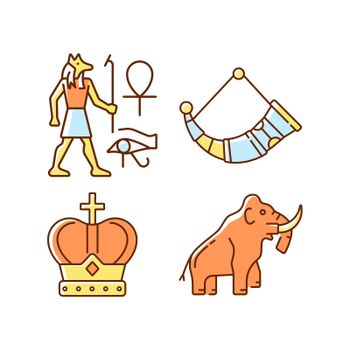 Ancestors heritage RGB color icons set