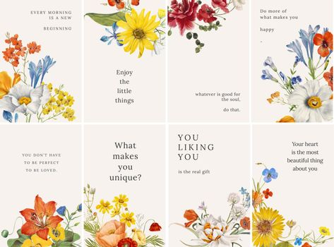 Colorful floral quote template vector set, remixed from public domain artworks