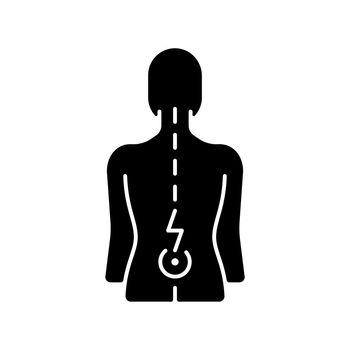 Lower back pain black glyph icon