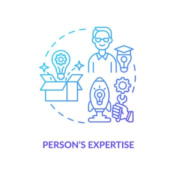 Person expertise navy gradient concept icon