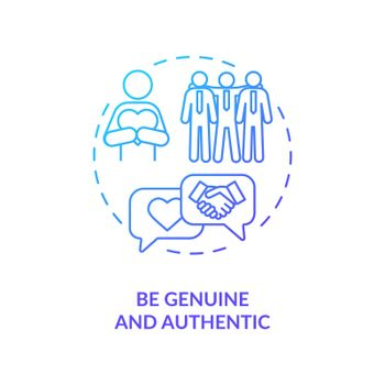 Be genuine and authentic navy gradient concept icon