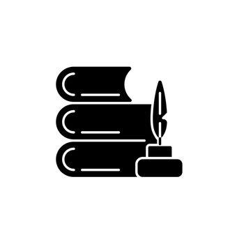 Literature black glyph icon
