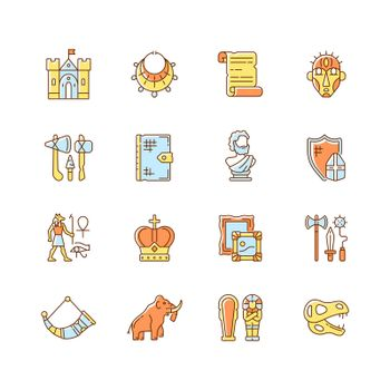 Heritage and museum RGB color icons set