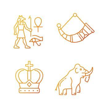 Ancestors heritage gradient linear vector icons set