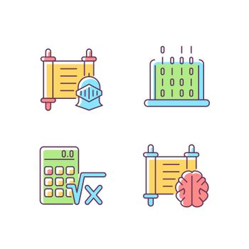 Humanities and applied subjects RGB color icons set