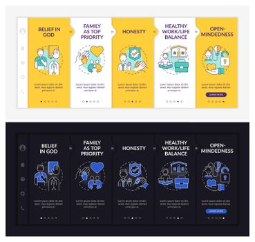 Personal creeds onboarding vector template