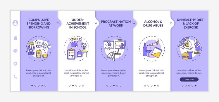 Major self-control issues onboarding vector template