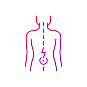 Lower back pain gradient linear vector icon