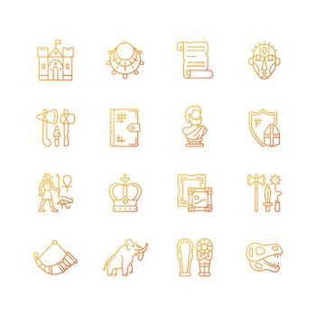 Heritage and museum gradient linear vector icons set