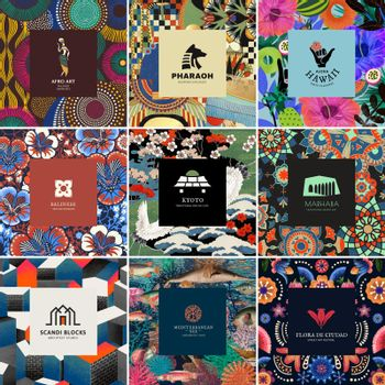Ethnic pattern template vector with minimal logo set, remixed from public domain artworks
