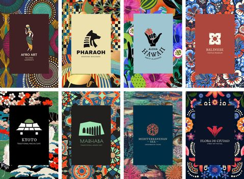Ethnic pattern template vector for branding set, remixed from public domain artworks
