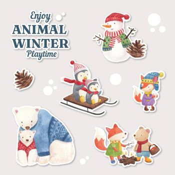 Sticker with animal enjoy winter concept,watercolor style