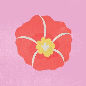 Red flower, spring clipart vector illustration