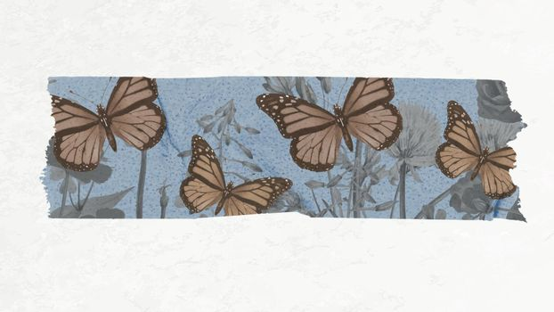 Scrapbooking collage DIY vintage decor, vector butterfly washi tape sticker