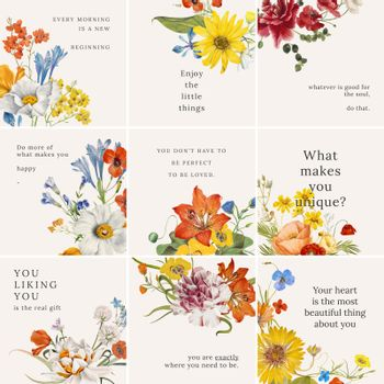 Spring floral quote template vector set, remixed from public domain artworks