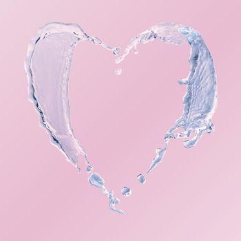 Water heart element, splashing vector clipart