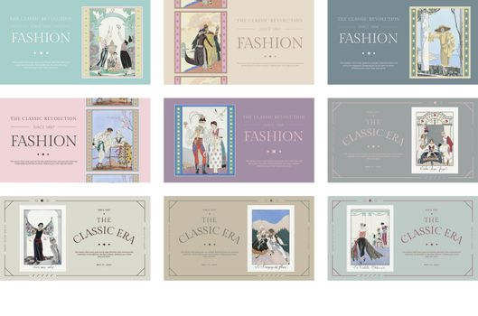 Fashion templates vector for editable blog, remix from artworks by George Barbier