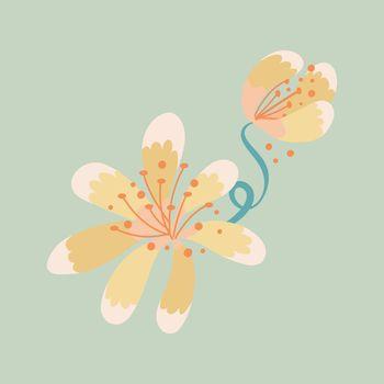Yellow flower, spring clipart vector illustration