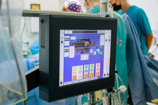 Operating room for during heart surgery lung machine in apparatus circulation blood heart