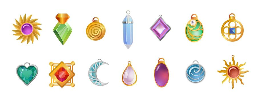 Magical amulets of different shapes vector illustrations set