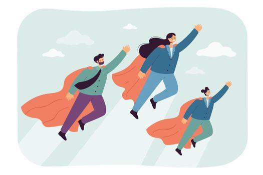 Cartoon family of superheroes flying up