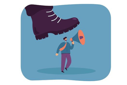 Giant boot stepping on tiny worker holding megaphone