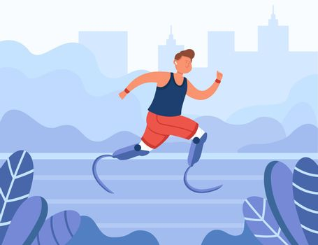 Happy disabled athlete running in park