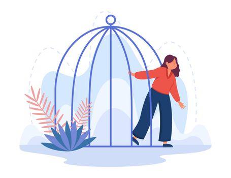 Young cartoon woman leaving birdcage