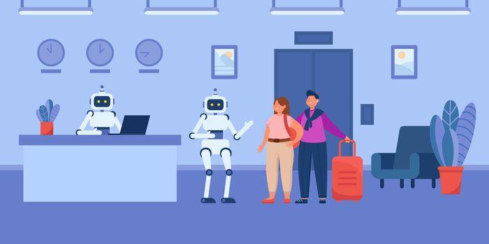 Robotic cartoon porter helping guests to elevator in hotel
