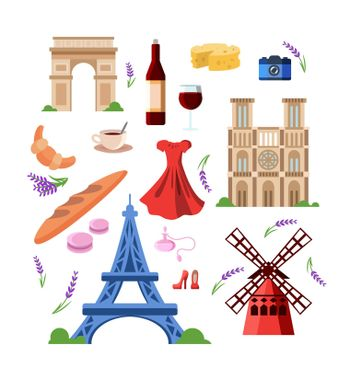 Set of colorful France and travel symbols