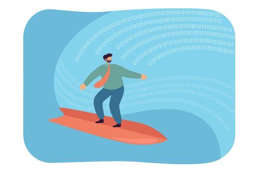 Businessman surfing on digital wave