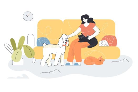 Happy cartoon woman sitting on couch with pets