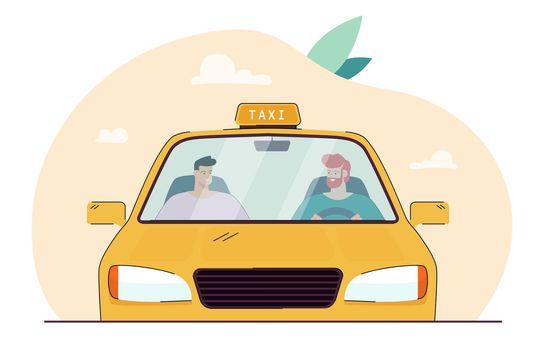 Cartoon taxi driver talking to passenger behind windscreen