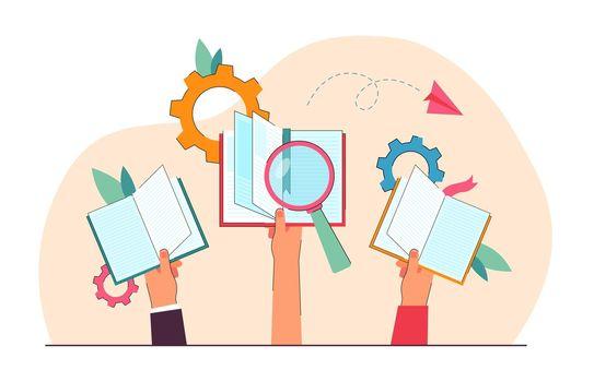 Cartoon hands holding open books