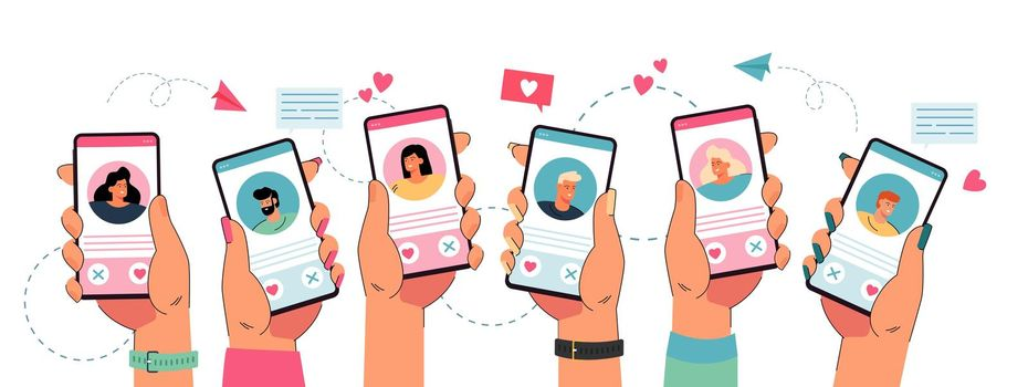 Hands holding phone with dating app