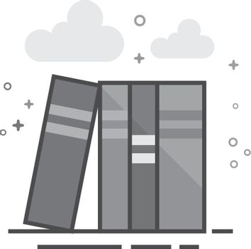 Flat Grayscale Icon - Books