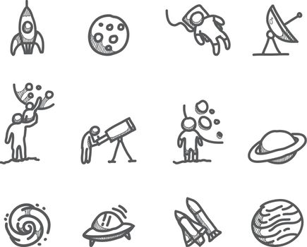 Sketch icons Outer space