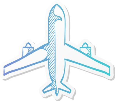 Sticker style icon - Airplane commercial