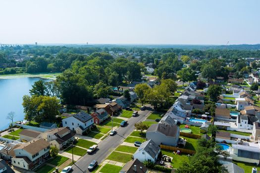 Beautiful American town houses near the lake in Sayreville New Jersey