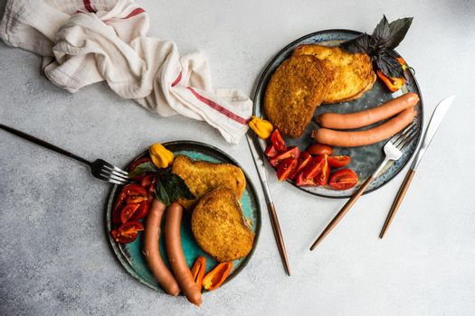 Dinner set served on a plate
