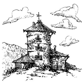 Hand-drawn sketch of temple