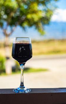 Red dry georgian wine