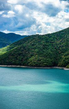 Famous Zhinvali reservoir in Caucasus mountains in Georgia