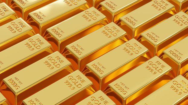 Gold bar or fine golden brick ingot weight of gold bars 1 kg