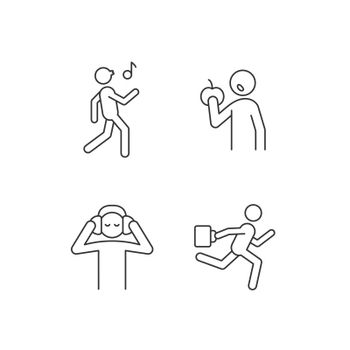 Everyday activities linear icons set