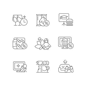 Employee benefits for wellbeing linear icons set