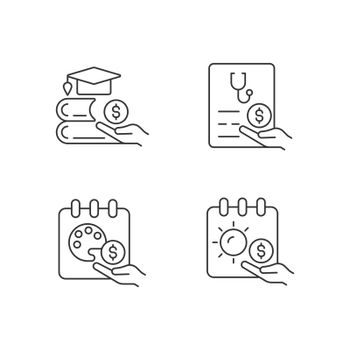 Workplace wellbeing benefits linear icons set